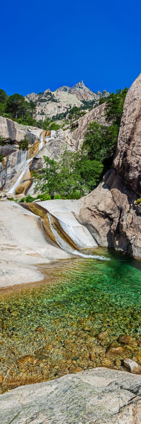 Vasque et cascade, ravin de Purcaraccia