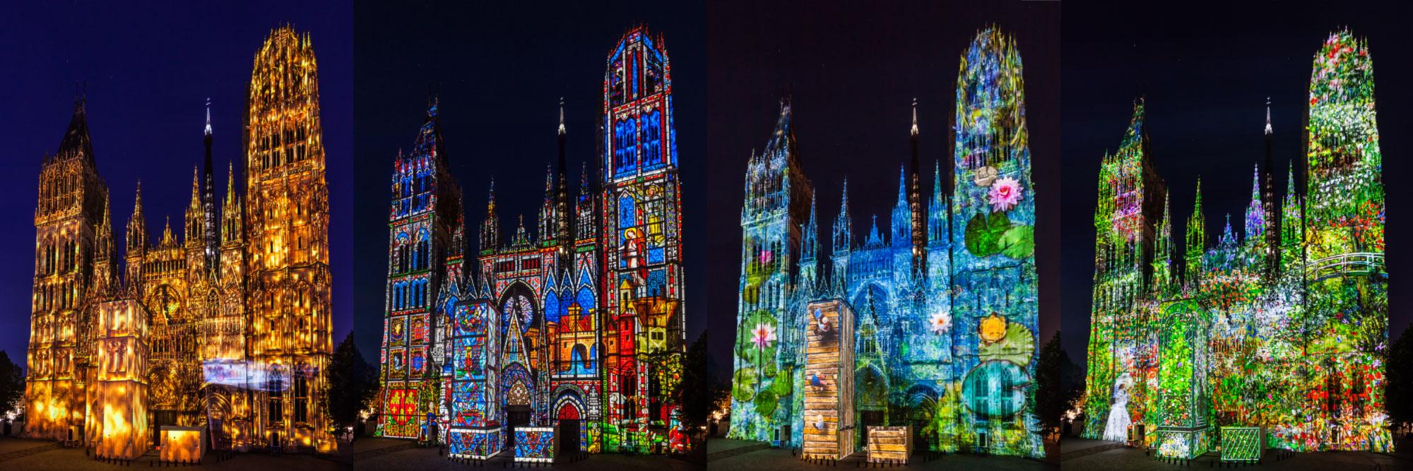 Spectacle de projection sur la cathédrale (créations de Cosmo au), Rouen
