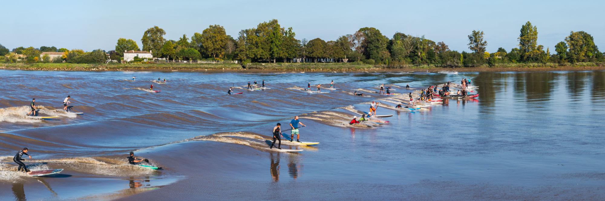 Surfeurs à Saint-Pardon, mascaret sur la Dordogne