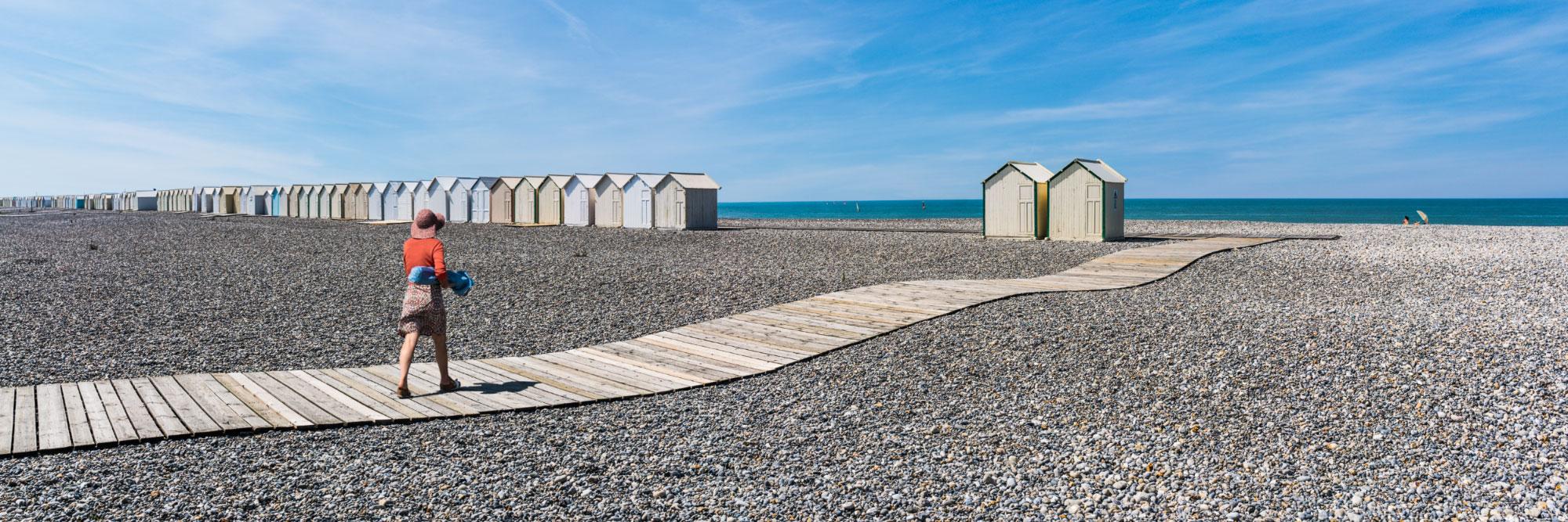 Chemin de planches et cabines de bains, Cayeux-sur-Mer, Manche