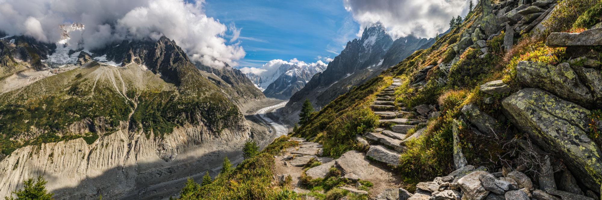 Chemin au-dessus de la Mer de Glace, Chamonix, Mont-Blanc