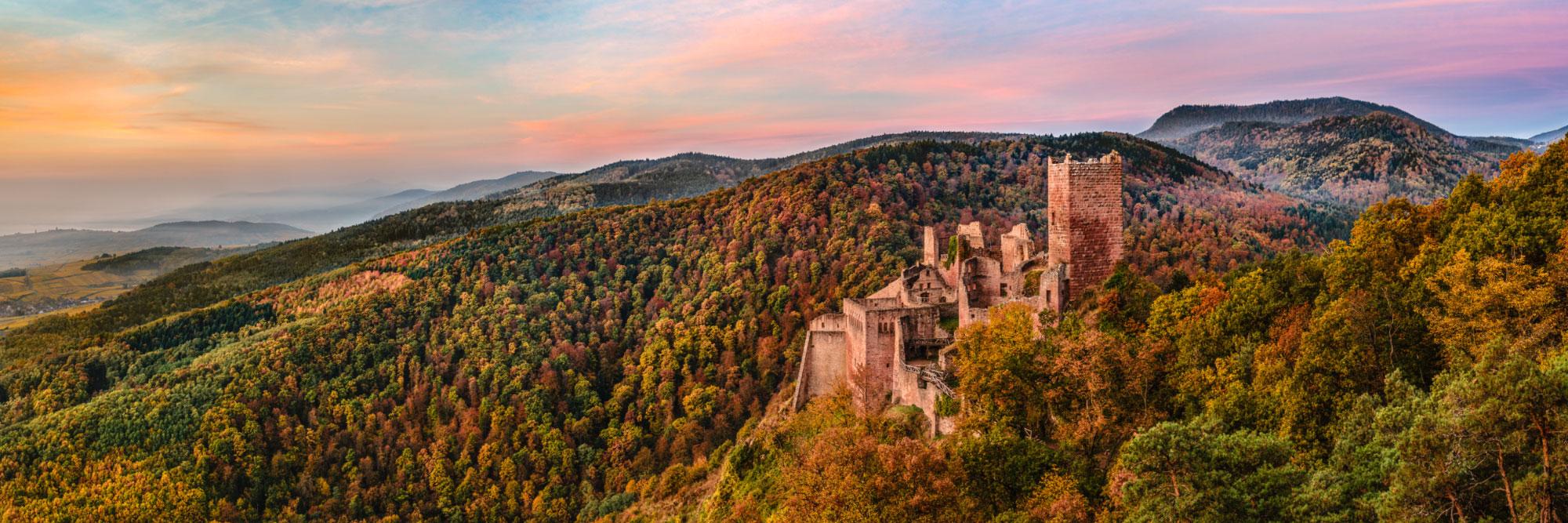 Château de Saint-Ulrich dominant la plaine d'Alsace, Vosges