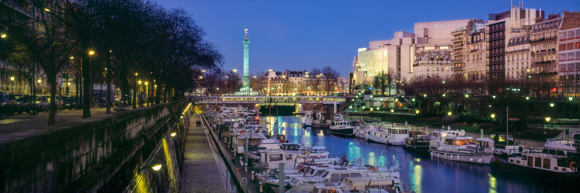 Port de l'Arsenal, Canal Saint-Martin, Opéra et Colonne de la Bastille